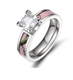 Wholesale Pink Cz Wedding Ring Sets - 5mm Pink Tree Camo Titanium Wedding Ring Princess Cz Stone size 5-10