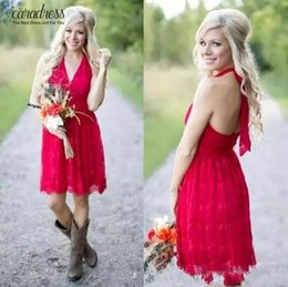 Wholesale Size Full Bridesmaid - 2017 New Arrival Countryside Little Red Short Bridesmaid Dresses Halter Neck Backless Full Lace Wedding Party Wear Maid of Honor Gowns