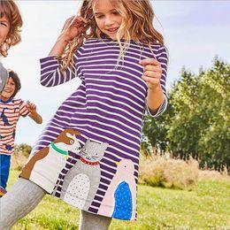 Wholesale Dog Children Clothing - Girls Cartoon Dress Autumn Cat Dog Stripe Long Sleeve Children Dresses Fashion birthday Dress Kids Casual Clothes C1717