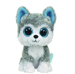 sale stuff toys Coupons - Wholesale- 1pc18cm Hot Sale Beanie Boos Big Eyes Husky Dog Plush Toy Doll Stuffed Animal Cute Plush Toy Kids Toy