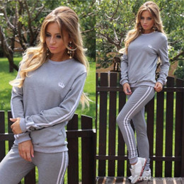 Wholesale Ladies Tennis Clothes - Leisure Lady Sportswear Women Suit Set 2017 Fashion Female Girls Clothes Girls Long-Sleeved Casual Suit ouc0721