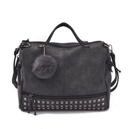 Wholesale Larger Women - Vintage Nubuck Leather Female Top-handle Bags Rivet Larger Women Bags Hair Ball Shoulder Bag Motorcycle Messenger Bag