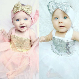 Wholesale Skirt Band Baby - Girl lace INS paillette camisole dress kids baby princess party bowknot hair band Rainbow colors sleeveless tutu Dress skirt