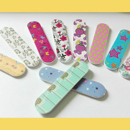 Wholesale flower file - Wholesale- 8*2cm flower print mini nail files buffer finger tips manicure pedicure tools wholesale 400pcs
