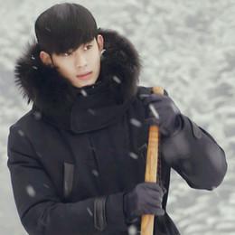 Wholesale Winter Coats Japan - Black Man down jacket hooded with real raccoon fur collar winter coat male long parkas Korean Japan Professor DuMinjun
