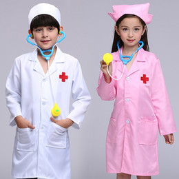 Wholesale Kids Doctors Set - Boy Girl Clothing Sets Kids Clothes Breathable Children Clothing Cosplay Costumes Kids Clothes Doctor Nurse Set White Pink UD0095