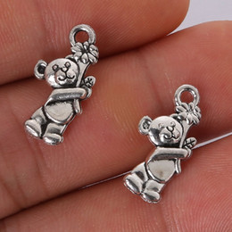 Wholesale Penny Charms - Wholesale- Penny 12pcs 19x10MM Antique Silver Alloy Bear Charms Pendant Jewelry Findings