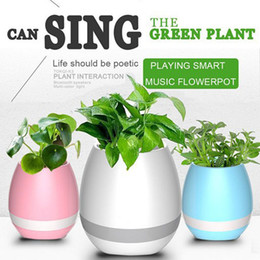 Wholesale Office Mobile - Music Green Plant Smart Bluetooth Speaker Music Flower Pots Home Office Decoration Green Plant Music Vase Touch Induction Creative Fedex