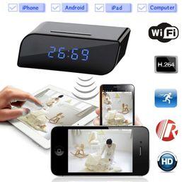 Wholesale Spy Clock 32gb - Newest Wifi 1080P Hidden Spy Cam IP Camera Alarm Clock Mini Camcorders HD 160 Deg with Night Vision Black Support 32GB TF Card