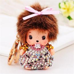 Wholesale Monchichi Dolls - Fashion Monchichi Dolls Keychain Fur Prom Car Key Chains Woman Bag Key Chain Charms Pendant Porte Clef Rhinestone Crystal Christmas Gift