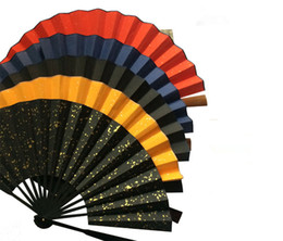 """Wholesale Diy Paper Fan - 10"""" Large Blank Chinese Rice Paper Hand Fan Adult Calligraphy DIY Fine Art Hand Painting Programs Folding Bamboo Fans Crafts Gift"""