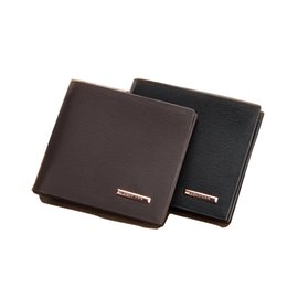 Wholesale Vertical Business Cards - New Cross Vertical Portable Men's Wallets Quality PU Leather 2 Folds Business Black Coffee Colors ID Credit Card Holder Carteira
