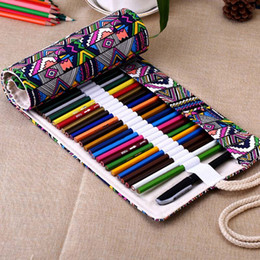 Wholesale Roll Up Storage Bags - New 36 48 72 Holes Canvas Wrap Roll Up Pencil Bag Pen Case Holder Storage Pouch free shipping