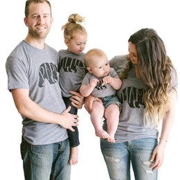 Wholesale Kids Clothing Family - Family matching clothes bear printed PAPA MAMA BABY cotton T shirt short sleeve parent-child casual suits family summer outfits Mother kids