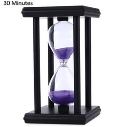Wholesale Time Clock Decoration - Stylish Ornament 30 Minute Sand Hourglass Countdown Timing Modern Wooden Sandglass Sand Clock Timer Home Decoration Wooden Frame