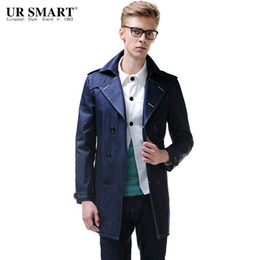 Wholesale Indigo Denim - Wholesale- URSMART Brand in the men's long trench coats and 2015 indigo blue denim trench coat