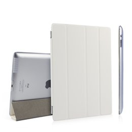 Wholesale Magnetic Cover For Ipad4 - Ultra Thin PU Leather Slim Magnetic Folding Front Smart Cover Skin + Hard PC Shell Back Case For ipad 2 3 4 ipad3 ipad4