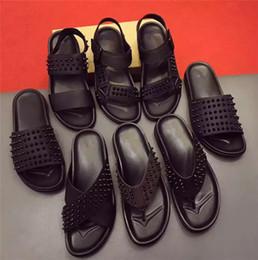 Wholesale New Nail Trends - brand designer high-end custom cowhide rivet nail casual comfortable fashion men slipper flat trend summer rivet word drag 2017 new shoes