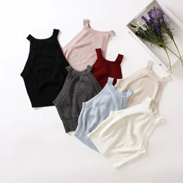 Wholesale Halter Corsets Tops - Women crop top Ladies sexy camis fitness feminine tank top corset veste femme camisole halter Knitted Crocheted 7color elastic