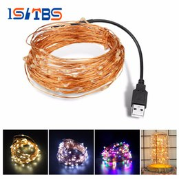 Wholesale Wire Home Decor Wholesale - 5M 10M USB charger LED string light Copper Wire LED holiday light Outdoor Fairy LED Strip Wedding Christmas home decor lamp