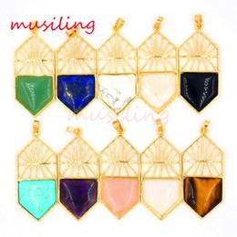 Wholesale Hoop Pendant Necklace - Natural Gem Stone Jewelry Pendants Pendulum Gold Plated Basketball Hoop Mascot Reiki Charms Lapis Lazuli Crystal etc Stone Jewelry