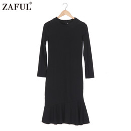 Wholesale Ruffle Sweater Xl - Wholesale- ZAFUL Autumn Spring Thin Sweater Dress O neck Ruffles Hem Sexy Bodycon women knitted dress pullover Pull femme oversized capes