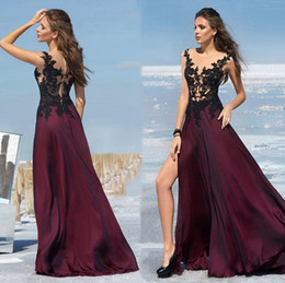 Wholesale Wine Color Evening Dress - 2016 Gorgeous Sheer Neck Black Lace Appliqued Beaded Side Split Evening Dresses Long Prom Gown Sweep Train Wine Red Color Evening Gown