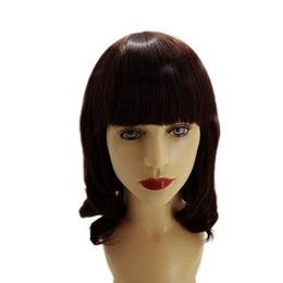 Wholesale Human Hair Wave Bangs - Waves in the brown wig bang, human hair, can be very hot women synthetic hair dyed composite Pelucas Sinteticas Perruque Courte Peruca Pruik