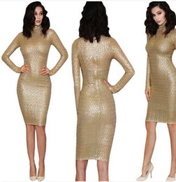 Wholesale Turtle Prom Dress - 2017 new Women casual dress Fashion gold sequins Bodycon Mini dresses Elegant Long sleeves Clubwear Party Prom Cocktail Dresses