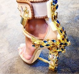 Wholesale Embossed Dresses - 2017 Hot Sale Luxury Brand Rhinstone Lock Shoes Woman High Heels Sandals Sexy PVC Patchwork Summer Gladiator Sandals Women Shoes