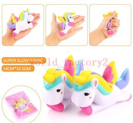 Wholesale Kid Cellphones - Cute Squishy Unicorn Toys Slow Rising Kawaii Cellphone Straps Pendant Simulation Bread Cake Stress Reliever Toys Gift