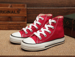 Wholesale Baby Casual Shoes High - Brand New Children Canvas Shoe 24-34 Fashion High Low Top Shoes Casual Boys Girls Sports Lace Up Canvas Baby Toddler Child shoes