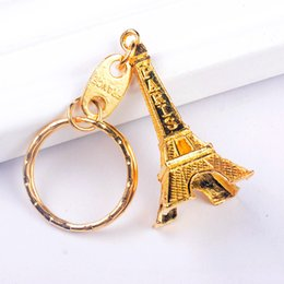 Wholesale Zinc Keychain - Vintage Eiffel Tower Keychain stamped Paris France Tower pendant key ring gifts Fashion Gold Sliver Bronze