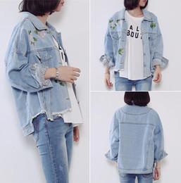 Wholesale Jeans Casual Mujer - New Womens Bomber Jacket Female irregular edges embroidery Denim Jacket Jaqueta Jeans Feminina loose Mujer Streetwear Style Jeans Jacket