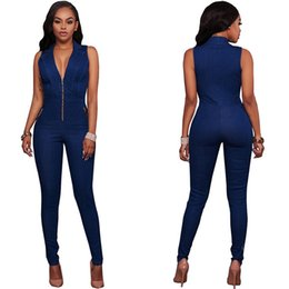 Wholesale Denim Overalls Woman - 2017 Summer Zipper Denim Long Jumpsuit Sexy Deep V Neck Overalls Bodysuit Sleevelss Jean Combinaison Femme Playsuit Overalls For Women