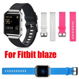 Wholesale Wrist Candy Wholesale - Soft Silicon Rubber Candy Color Sports Watch Band Wrist Strap Replacement for Fitbit Blaze with Metal Buckle