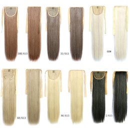 Wholesale Clip Long Straight Ponytail - 1pcs high quality Style Blonde 60cm Long Straight Ponytail 90g Fake Hair Styling Clip Straight Ponytails Pony Tails