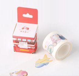 Wholesale Diy Car Tape - Wholesale- 2016 Boxed 1Roll=40mmx10m Vehicle Car Pattern Japanese Washi Decorative Adhesive DIY Masking Paper Tape Label Sticker Gift Chri