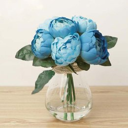 Wholesale Chinese Silk Bulk - Blue Damascus Rose Bunch Silk Artificial Flowers Real-look Wedding Home Decor