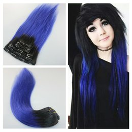 Wholesale Hair Extensions Light Blond - Blond ombre clip in human hair extensions 1b purple human hair ombre clip ins silky straight