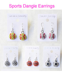 Wholesale Wholesale White Bowls - Dangle Earring Softball Baseball Football Basketball Volleyball Soccer Bowling Skating Rhinestone Crystal Bling for Girls Sports