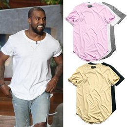 Wholesale Mens Plain Tee Shirts - Curved Hem Hip Hop T-shirt Men Urban Kpop Extended T shirt Plain Longline Mens Tee Shirts Male Clothes Justin Bieber Kanye