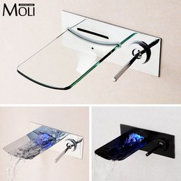 Wholesale wall mount taps - Wholesale- Wall mounted chrome finish bathroom faucet glass spout waterfall basin faucets single handle sink tap