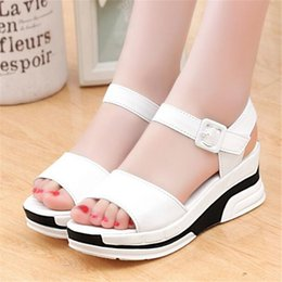 Wholesale Trifle Platform Shoes - Wholesale- 2016 Summer shoes woman Platform Sandals Women Soft Leather Casual Open Toe Gladiator wedges Trifle Mujer Women Shoes Flats X6