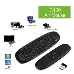 Wholesale Android Usb Microphone - C120 T10 All-in-One 2.4GHz Air Mouse Wireless QWERTY Keyboard Microphone Voice Remote Controller with Nano USB Receiver for HDTV PC Android