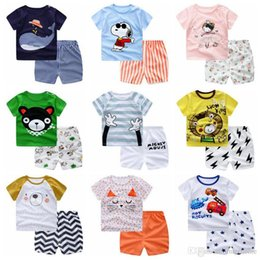 Wholesale Cartoon Baby Boy Clothes - Baby Clothing Sets Boy Cartoon Print Suits Girl T Shirts Pants Kids Striped Dot Tops Shorts Casual Toddler Bear Princess Cotton Outwears H37