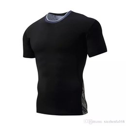 Wholesale Stretch Sport T Shirts - Men's short-sleeved round neck tights outdoor sports quick-drying T-shirt camouflage network tight stretch training clothes