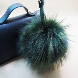 Wholesale Led Keychain Ball - 16cm Luxury Fluffy Real Raccoon Fur Ball Pom Pom Plush Size Genuine Fur Key Chain Keychain Metal Ring Pendant Bag Charm