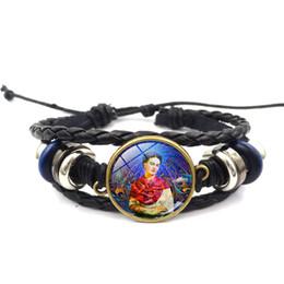 Wholesale Wrapped Wrist Leather Bracelet - Mexico Frida Kahlo Bracelets Antique Bronze Frida Kahlo Portrait Glass Cabochon Bracelet Weave Wrap Wrist Band Cuff Fashion Jewelry 162470