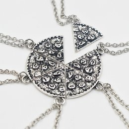 Wholesale Friendship Birthday Gifts - 6pcs Set Pizza Pendant Necklaces BFF Best Friends Friendship Cool Necklace Creative Silver Gold For Men Women Birthday Gifts Jewelry